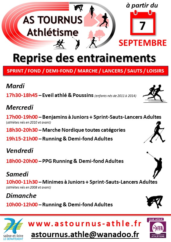 Horaires Entrainements AS Tournus Athlétisme 2021 2022